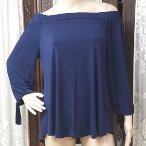Navy Blue Anthropologie Cable & Gauge Blouse